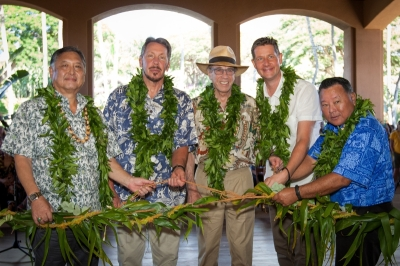 G. Riki Hokama, Committee Chair, Maui City Council, Lawrence Ellison, owner, Four Seasons Resorts Lanai, Isadore Sharp, Founder and Chairman, Four Seasons Hotels and Resorts, Tom Roelens, General Manager Four Seasons Resorts Lanai, and Maui Mayor Alan Arakawa at opening of Four Seasons Resort Lanai. (PRNewsFoto/Four Seasons Resorts Lana'i)